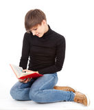 Student girl reading red book Stock Photo