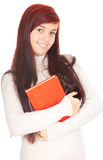 Student girl with red book Royalty Free Stock Images