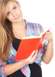 Student girl with red book Royalty Free Stock Photo