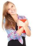Student girl with red book Royalty Free Stock Photos