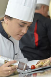 Student girl in restaurant school Stock Photo
