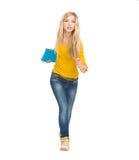 Student girl running straight Stock Photos