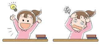 Student girl set - Achievement and frustration royalty free illustration