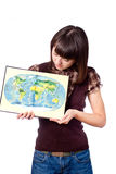 Student girl show world map Royalty Free Stock Images