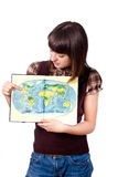 Student girl show world map Stock Photography