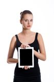 Student girl  showing blank tablet screen Stock Photo