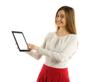 Student girl showing screen tablet pc Stock Image
