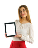 Student girl showing screen tablet pc Stock Images