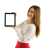 Student girl showing screen tablet pc Royalty Free Stock Image