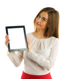 Student girl showing screen tablet pc Stock Photos