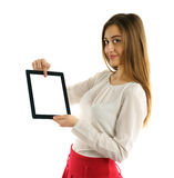 Student girl showing screen tablet pc Royalty Free Stock Photography