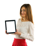 Student girl showing screen tablet pc Stock Photo