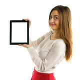 Student girl showing screen tablet pc Royalty Free Stock Photo