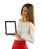 Student girl showing screen tablet pc Stock Photography