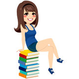 Student Girl Sitting Books Pile Stock Photography