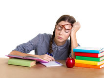 Student  girl  sleep Stock Images