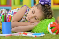 Student girl sleeping  at art class Royalty Free Stock Image