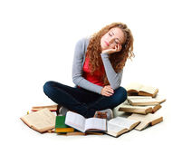Student girl sleeping near books Royalty Free Stock Photos
