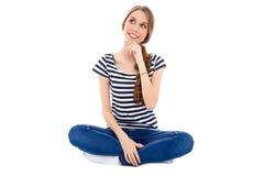 Student Girl som isoleras över bakgrund royaltyfri fotografi