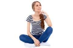 Student Girl som isoleras över bakgrund arkivfoton