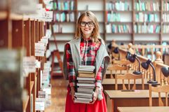 Student Girl with Stack of Books stock photos
