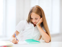 Student girl studying at school Stock Photography