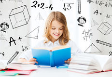 Student girl studying at school Stock Image
