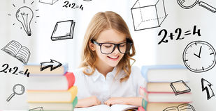 Student girl studying at school Royalty Free Stock Photo