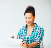 Student girl with tablet pc Stock Image