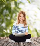 Student girl with tablet pc Royalty Free Stock Photography