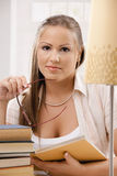 Student girl thinking Royalty Free Stock Photo