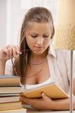 Student girl thinking Royalty Free Stock Photo