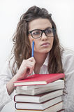 Student Girl Thinking Stock Images