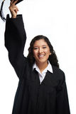 Student girl throw hat Stock Image