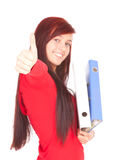 Student girl with thumb up. Smiling student girl with thumb up keeping file binders , white background Royalty Free Stock Photography