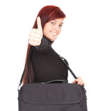 Student girl with thumb up and laptop bag Royalty Free Stock Photography