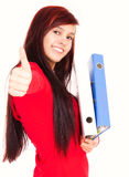 Student girl with thumb up Stock Photos