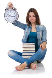 Student girl trying to meet her studying deadlines Royalty Free Stock Images