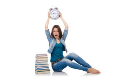 Student girl trying to meet her studying deadlines Royalty Free Stock Photography