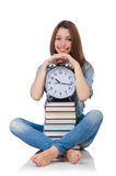 Student girl trying to meet her studying deadlines Royalty Free Stock Image