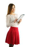 Student girl using tablet pc Stock Photo