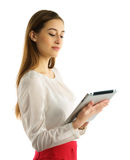 Student girl using tablet pc Royalty Free Stock Image