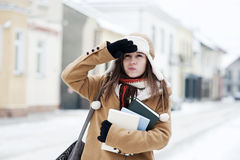 Student girl in wintertime. Winter collection: portrait of beautiful student girl in wintertime Stock Image