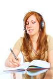 Student Girl With Headphones Stock Photo