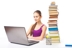 Student girl working on a laptop Royalty Free Stock Photo
