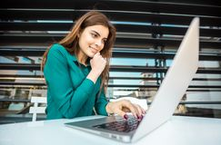 Student Girl Works with Computer Royalty Free Stock Photos