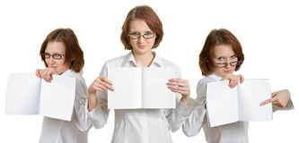 Student girls. With notebooks in their hands on a white background Stock Image