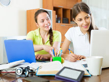 Student girls studying at home Stock Images