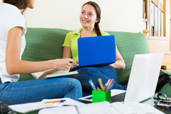 Student girls studying at home Royalty Free Stock Photography