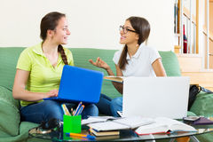 Student girls studying at home Stock Photography